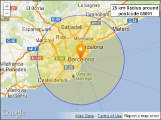 Spanish postcodes within a radius