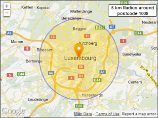 Luxembourg postcodes within a radius
